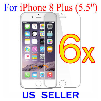 """6x Clear Screen Protector Guard Cover Film Shield For Apple iPhone 8 Plus (5.5"""")"""