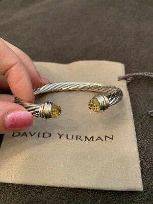 474ba0481d116d David Yurman Cable Classics Bracelet/ 🍋 Lemon Citrine and 14K Gold 7mm