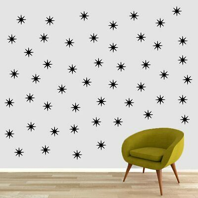 Retro Starbursts Wall Decal Set - Shapes, Accents, Patterns, Wall Sticker, Art