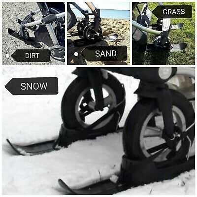 Winter Snow Skis for Baby Buggy, Stroller, universal FREE My Buggy Buddy Clip