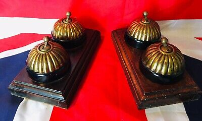 2 Pairs Of Antique Brass And Ceramic Jelly Mould Light Switches (reclaimed)
