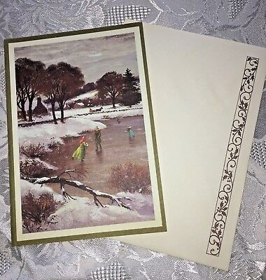 Vtg Christmas Cards LOT of 9 Snowy Countryside Children Skating Frozen Pond
