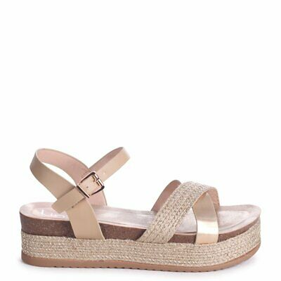 21cfdf25a Venice Gold Plaited Sandal With Espadrille Flatform & Crossover Front Strap