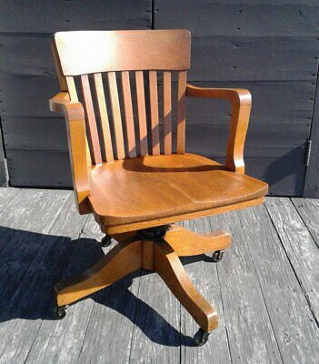 Antique Tiger Oak Swivel Adjustable Office Arm Chair Taylor Chair Co Bedford OH