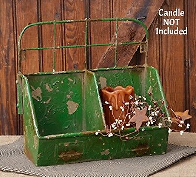 New Primitive French Country METAL BIN Organizer Box Green chippy Paint Shabby