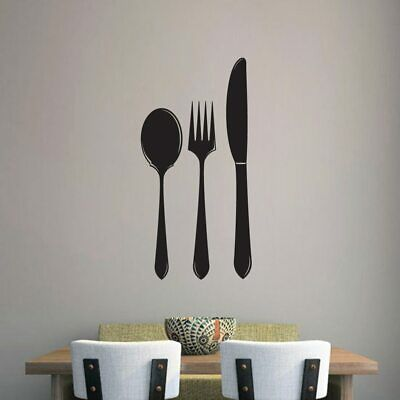 Spoon Fork Knife Wall Decal - Kitchen, Dining, Cooking, Eating, Wall Art, Decal