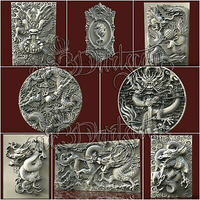 8 3D Models STL for CNC Router Artcam Aspire Dragon Panels set Cut3D Vcarve