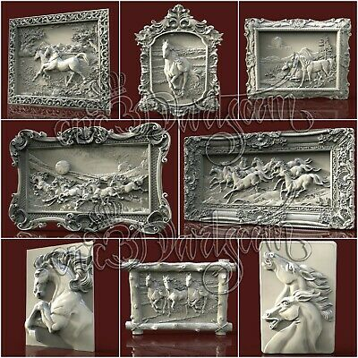 8 3D STL New Horses Panel Models  For CNC Router Carving Machine Artcam aspire