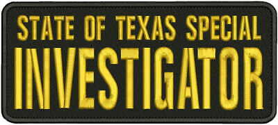 PRIVATE INVESTIGATOR EMB PATCH 4X10 AND 2X5 HOOK ON BACK OD//BLK