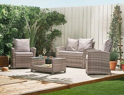 fe1333fb0237 Rattan Wicker Weave Garden Furniture Conservatory Sofa Set 4 Seater FREE  COVER