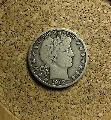 1912 S 50C Barber Half  Circulated  90 % Silver US Coin  #CO39