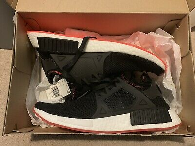 93a1d0100b0bb Adidas Nmd XR1 Mens BY9924 Black Solar Red Boost Knit Running Shoes Size 9.5
