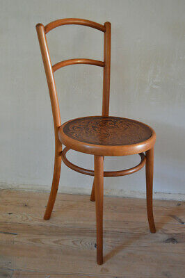 Austrian Art Nouveau Bentwood Chair with Patterned Seat, J. & J. Kohn, 1900s