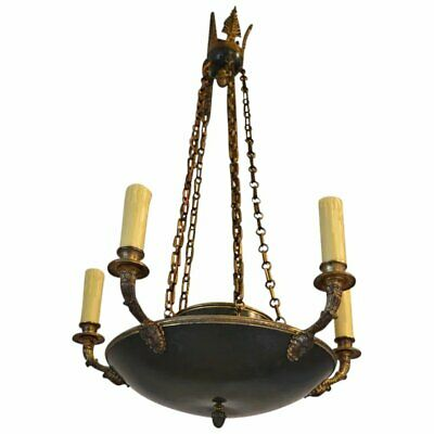 Antique French Empire Chandelier in Patinated Bronze, 19th Century