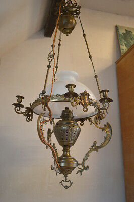 French Large Antique Chandelier in Bronze and Brass, 19th Century