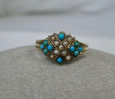 Victorian Persian Turquoise Pearl Ring Gold Edwardian Belle Epoque Art Nouveau