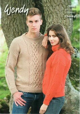 "Wendy Knitting Pattern 5437 Polo Neck Sweaters Chunky 26-42/"" Mens Ladies Family"