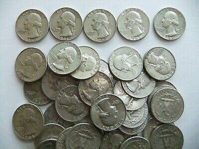 Roll of 40 90% SILVER WASHINGTON QUARTERS ($10.00 Face) 1960-1964 Junk coins