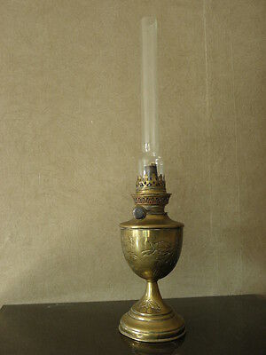 antique old french table lamp oil Brass Arts & Crafts century sculptured vintage