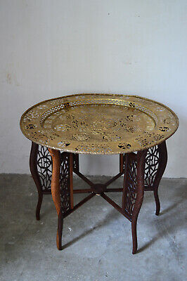 Antique Asian Dragons Carved Table with Brassware Tray Top, 1890s