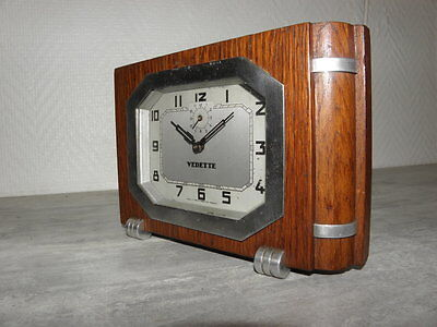 vintage wood clock alarm vedette retro desk  Art Deco design Mechanics uhr
