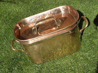 antique Copper Bowl Kettle Pot pans Roasting Cauldron KITCHEN Confit DAUBIERE