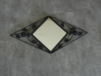 Vintage mirror Art Deco french Bevelled Wall Metal Frame WROUGHT iron