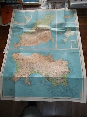 Vintage Cloth Contoured Map Of The Channel Islands By Bartholomew's