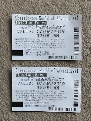 2 x Chessington World of Adventures Tickets FRIDAY 7th JUNE 2019 Adult or Child