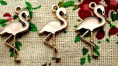 Flamingo bird charm 3 gold and pale pink pendant jewellery supplies C827