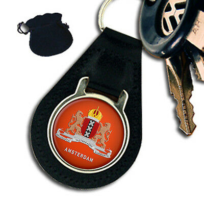 City Of Amsterdam Coat Of Arms Netherlands Leather Keyring / Keyfob Gift