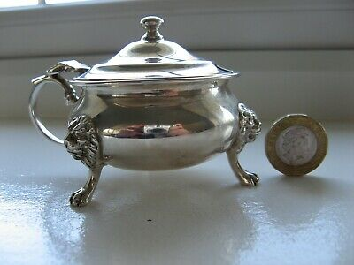 Solid Silver Mustard Pot With Blue Glass Liner. London 1935.