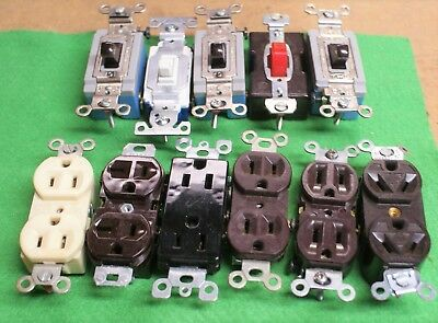 WHOLESALE 11 MIXED WALL SWITCHES & RECEPTACLES *HUBBELL *LEVITON jt