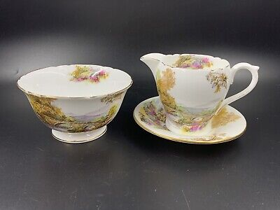 Shelley Heather Creamer and Sugar Bowl Bone China England
