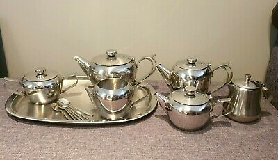 Sunnex Stainless Steel Tea Service Set including Tray & Six Viners Spoons (Tea)