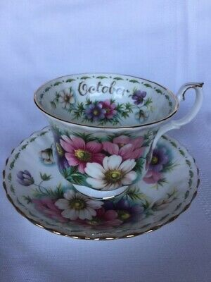 "Vtg Royal Albert Tea Cup & Saucer Flower of the Month Series ""October Cosmos"""