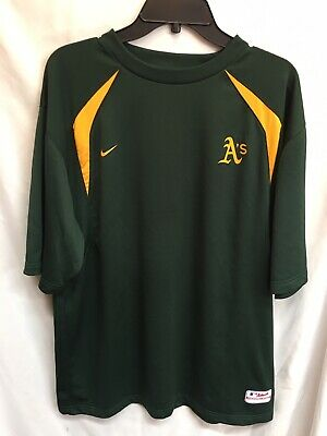 5c2a320e Nike Authentic Collection Oakland Athletics A's Shirt Green Gold Size Large  MLB