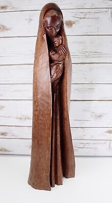 Antique Hand Carved Wood Virgin Mary Our Lady Madonna & Jesus Statue Sculpture
