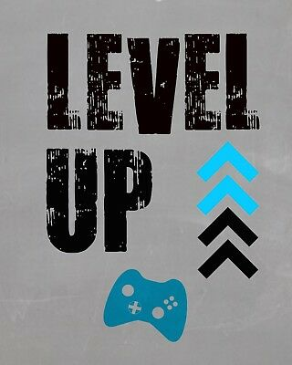 Level Up Gaming Poster Wall Art Print A4 Home Decor Poster  Gift