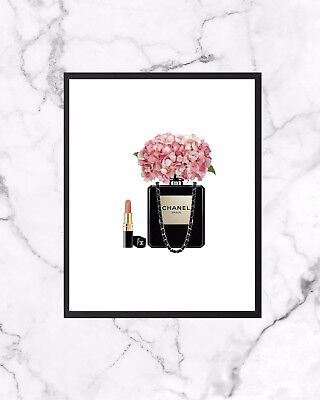 Perfume Bottle Fashion Poster Wall Art Print  A4 Gift Chanel Inspired
