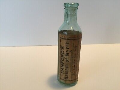 Rare antique glass 12 sided Bottle 1800's Hanford's Balsam of Myrrh with Label