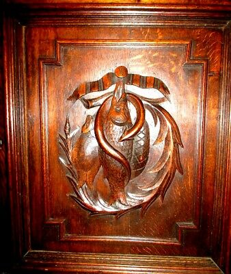 TWO of TWO Antique French Door Panels with Fishes, carved in Black Forest Style