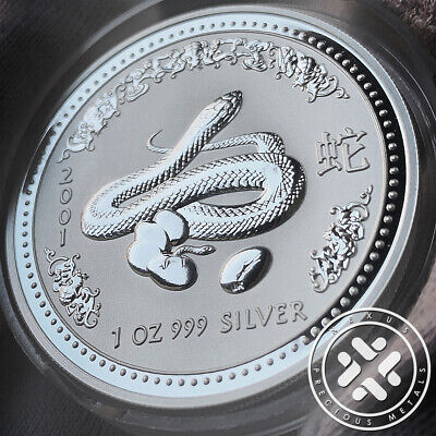 2001 Australia Lunar Year of the Snake 1 oz. Silver Coin Series I w/capsule