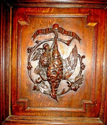 ONE of TWO Antique Black Forest French wood carved bird hunting door, panel 1