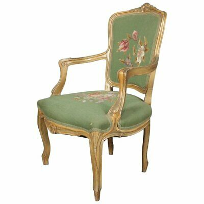 Antique French Louis XV Giltwood and Needlepoint Upholstered Armchair circa 1900