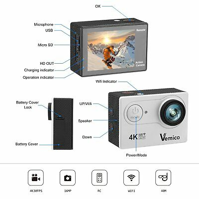 Vemico 4K Action Camera Ultra HD Impermeabile Camera 16MP WIFI Sport 40M