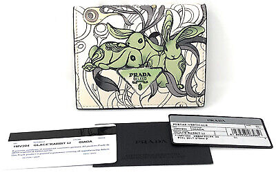 8b040bbbd1acba Prada x James Jean Liberty Rabbit Bi-Fold Compact Petite Wallet Green  Bunnies