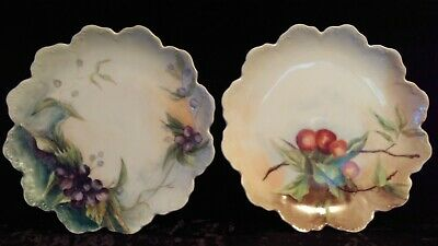 Vintage Walmaison Germany Porcelain Scalloped Embossed Hand Painted Plates 2