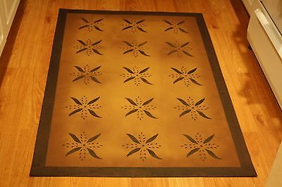 "Floorcloth 3'X5' ""DOLCE"" Beautiful Hand-Painted Primitive Colonial Area Rug"