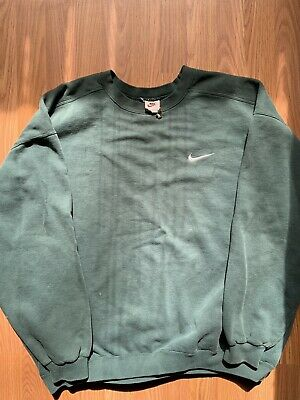 96ace9e366d6a2 Vintage Nike Forest Green Embroidered Swoosh Crewneck Sweatshirt Sz XL USA  MADE